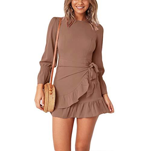 - WEEPINLEE Womens Long Sleeve Round Neck Ruffles Wrap Dresses Party Dress (Khaki, M)