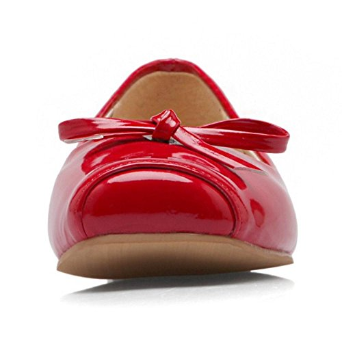 Slip Bow Sexy Shoes Pumps Flat Square Toe Red Women On TAOFFEN wTqUEpfc