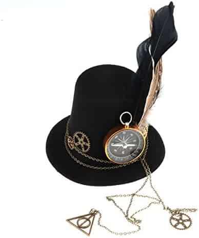 61a01e89a88a83 IEFIEL Women's Steampunk Victorian Mini Top Hat Metal Gear Costume Accessory
