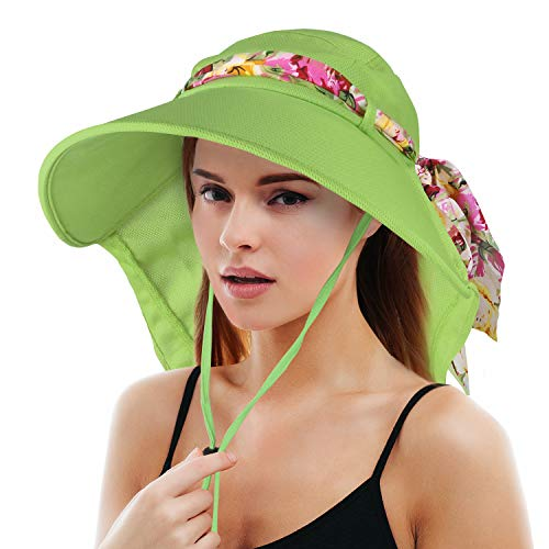 (Tirrinia Women Wide Brim Adjustable UPF 50+ Sun Hat Safari with Floral Ribbon for Beach Hiking Camping Fishing Gardening Green)