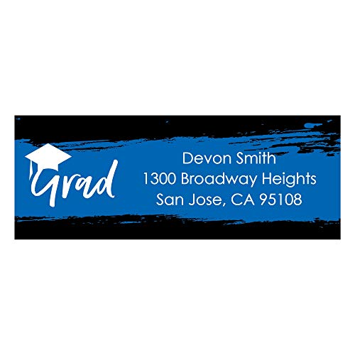 Custom Blue Grad - Best is Yet to Come - Personalized Royal Blue Graduation Party Return Address Labels - Set of 30