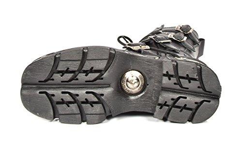 Schwarz Design Biker Schuhe Leder Flamme Stiefel New Stil Herren Gothic Schnürsenkel Rock Ovqw1ZT