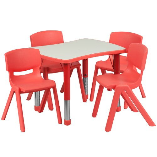 Flash Furniture 21.875''W x 26.625''L Rectangular Red Plastic Height Adjustable Activity Table Set with 4 Chairs