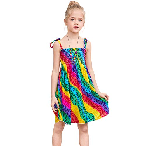 ICOSY Girl Casual Dress Bohemian Spaghetti Strap Sundress Camisole Ruffle Sleeveless Summer Tiered Dress Kid Beach Dress