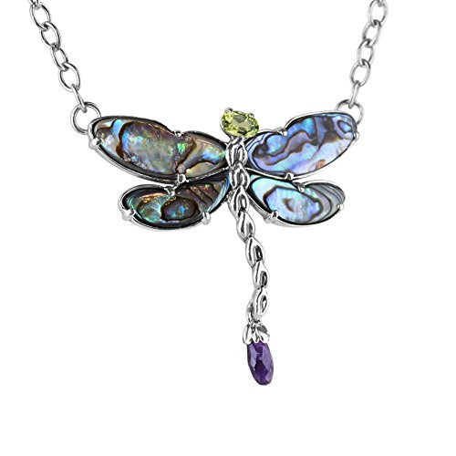 Carolyn Pollack Sterling Silver Abalone, Purple Amethyst and Green Peridot Gemstone Dragonfly Pendant Necklace 19 Inch