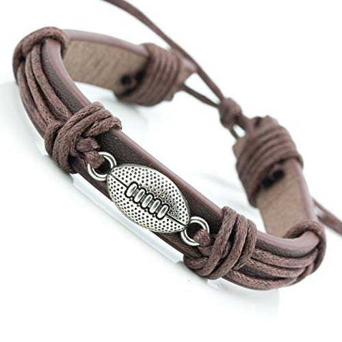 Soul Statement Sports Leather Wrap Bracelets for Men Teen Boys Soccer Football Charm Bracelet (Football)