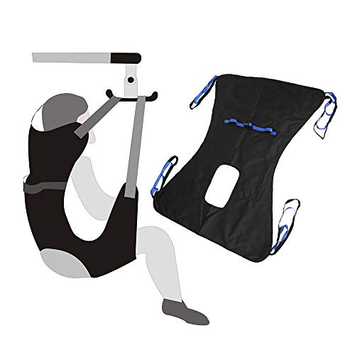 Toileting Sling Patient Lifter Medical Lift Equipment Bariatric Handicap Lift Commode Sling Medical Transfer Belt with Four Point Support Full Body Sling (Large - 51