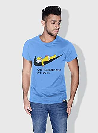 Creo Simpson Minions Round Neck T-Shirt For Men - Blue, S