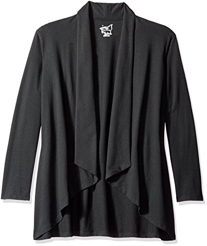 Just My Size Women's Plus Size French Terry Flyaway Cardigan, Black, 2X