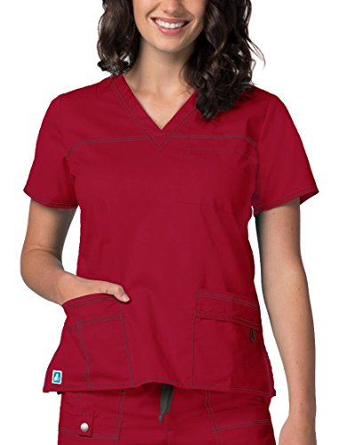 Adar Pop-Stretch Junior Fit TaskWear Scrub Top - 3202 - Cardinal - XL Cardinals Cotton