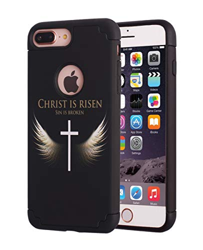 iPhone 7 Plus Case,iPhone 8 Plus Case,Slim Thin Hybrid Hard Back Cover and Soft Silicone Dual Layer Shock Absorbing Bumper Protective Case for iPhone 7 Plus/iPhone 8 Plus - Angel Wings and Cross