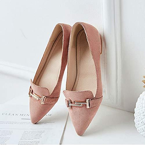 Metal Ante Trabajo Mocasines Hebilla Plana Pink Zapatos Con Casuales Puntiagudos De Suela Plnxdm wRaq48xYn