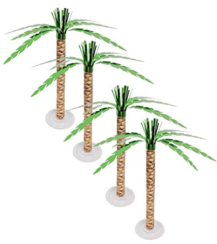 Palm Tree Centerpiece Cascade Green Shiny Metallic foil with trunk print Tropical Hawaiian Table Decor - Pack of 4 ()