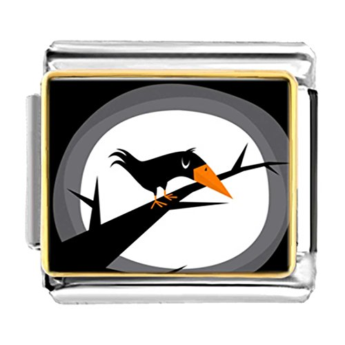 GiftJewelryShop Gold Plated Halloween Crow on Tree Full Moon Bracelet Link Photo Italian Charms