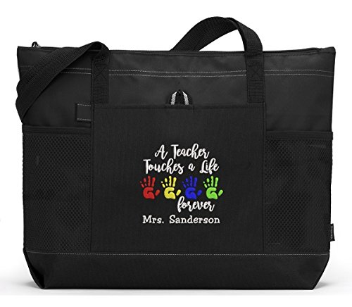 Touch Lives Teachers (A Teacher Touches a Life Forever Personalized Tote Bag with Mesh Pockets)