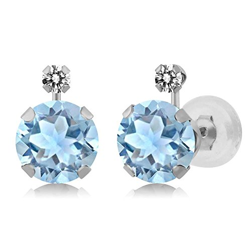 Gem Stone King 1.57 Ct Round Sky Blue Aquamarine White Diamond 14K White Gold Earrings