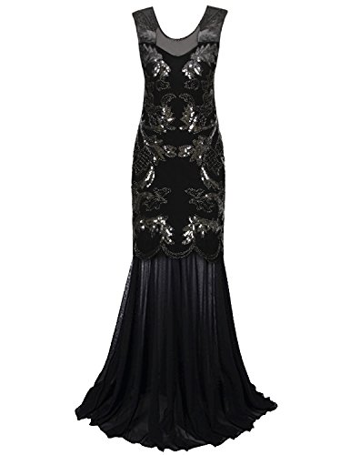 art deco black dress - 5