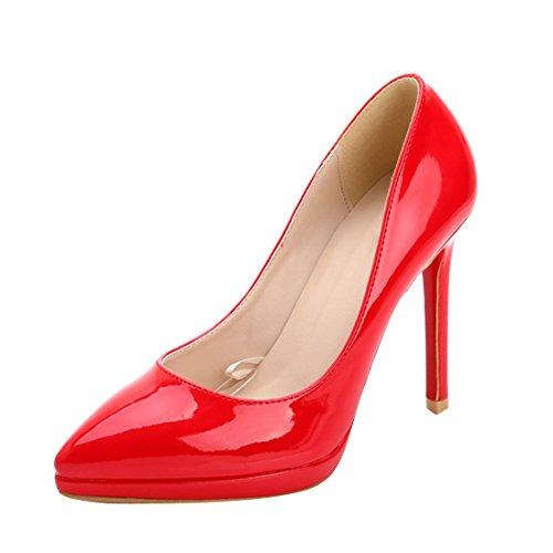 HooH Cuir Platform Escarpins Stiletto Verni Rouge Femmes vqCrwvZf