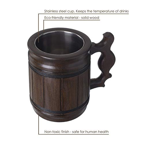 Handmade Beer Mug Oak Wood Stainless Steel Cup Gift Natural Eco-Friendly 0.3L 10oz Classic Brown
