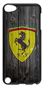 Customizablestyle Ferrari Car Logo with Wood Background iPod Touch 5 Case Hard Shell(PC Material)