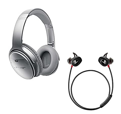Bose QuietComfort 35 (Series I) Noise Cancelling Over-ear (Silver) & SoundSport Pulse In-ear (Red) Wireless Bluetooth Headphone (In Ear Noise Cancelling Bose)