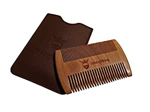 Wooden Beard Comb & Case by Striking Viking - Anti-Static Wood Pocket Comb with Fine & Coarse Teeth For Beard Hair & Mustaches - Perfect With Balms And Oils