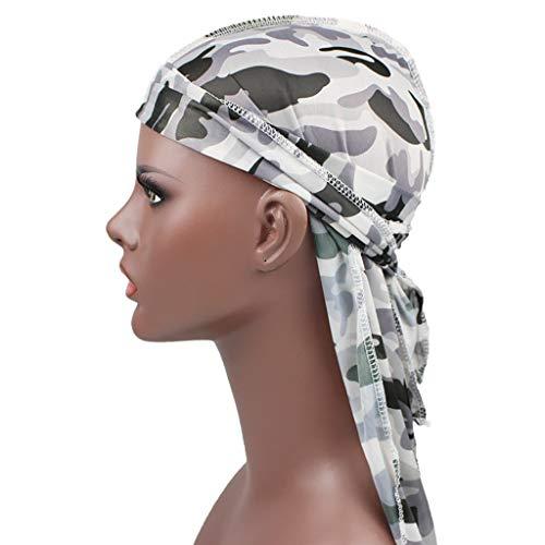Naiflowers Unisex Men Women's Colorful Elegant Chiffon Spring Summer Bandana Hat Durag Rag Tail Headwrap Headwear - Headwrap Chiffon