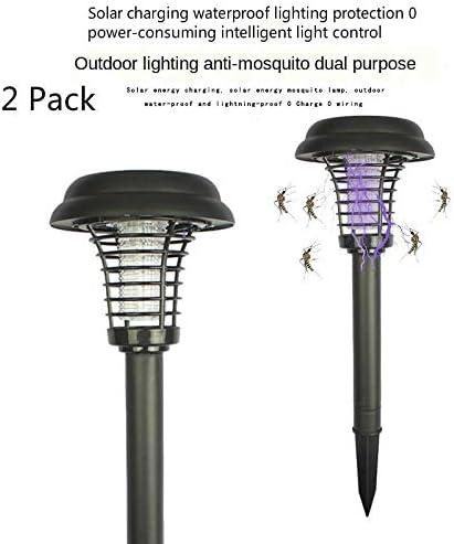 KACC Lámpara De Energía Solar contra Los Mosquitos, Exterio Mosquito, Asesino, Trampa, Lámpara, Linterna para Colgar o Clavar en el Suelo para Exteriores y Jardines (2 Packs)