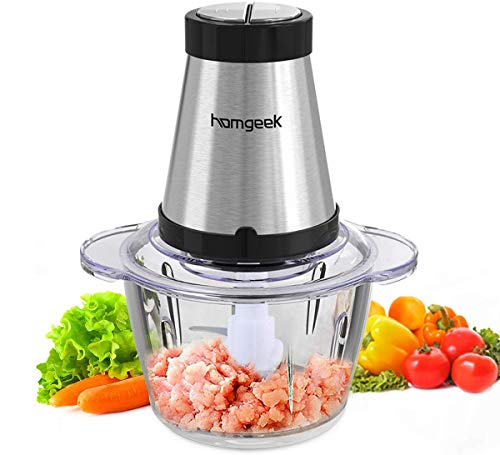 Electric Food Chopper, Homgeek Mini Food Processor with 300-watt, 2 Speed Control, 1.2L BPA-Free Glass Bowl Blender Grinder for Meat, Vegetables, Fruits and Nuts