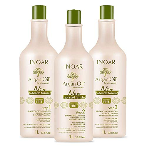 INOAR PROFESSIONAL - Argan Oil Smoothing System Deep Cleansing Shampoo, Smoothing Treatment & Reconstructing Balm - Long-Lasting Smoothing Action for Dry & Uncontrollable Hair (33.8 oz/1000 ml) (Keratin Treatment For Black Hair Without Formaldehyde)