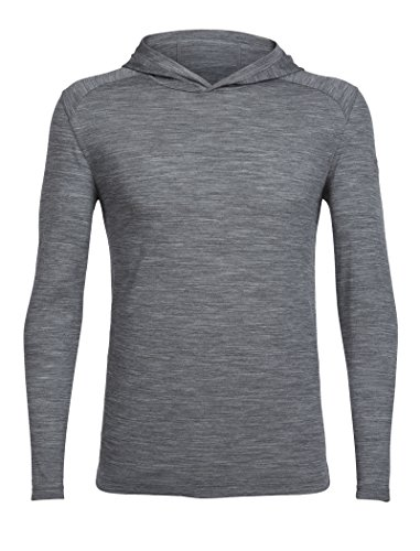 A-lite Hood - Icebreaker Merino Men's Cool-Lite Sphere Long Sleeve Hood Tee, Gritstone Heather/Gritstone Heather, X-Large