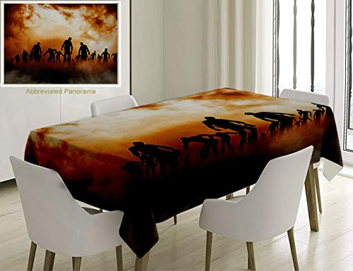 Unique Custom Cotton and Linen Blend Tablecloth Halloween Decorations Zombies Dead Men Body Walking in The Doom Mist at Dark Night Sky Haunted Decor OTablecovers for Rectangle Tables, 60 x 40 inches]()