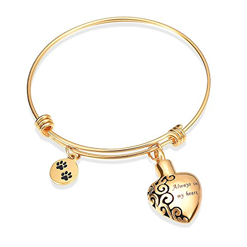 pandable cuffCremation Bracelet for Ashes Dog Cat Paw Prints Pet Memorial Urn Jewelry  (Gold) ()