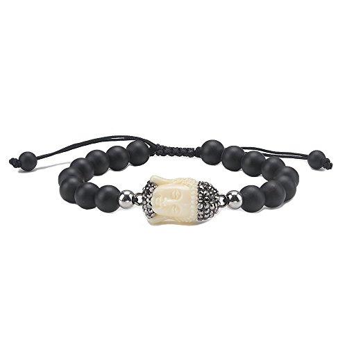 Jeka Buddha Charm Healing Energy 8mm Black Onyx Agate Beaded Bracelet for Women Men Vintage Semi-Precious Religious Charm Yoga Meditatation Adjustable ()