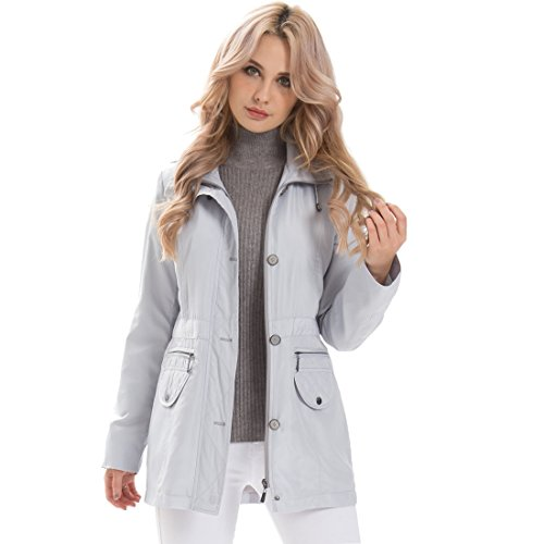 MSVassa Women Hood Trench Coat Windbreaker Ladies Plus Lightweight Elegant Jacket Outwear Two Porkets Autumn Spring Anorak, Silver, 3XL