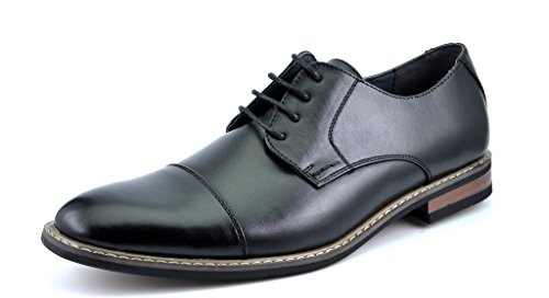 Bruno HOMME MODA ITALY PRINCE Men's Classic Modern Oxford Wingtip Lace Dress Shoes,PRINCE-6-BLACK,8 D(M) US