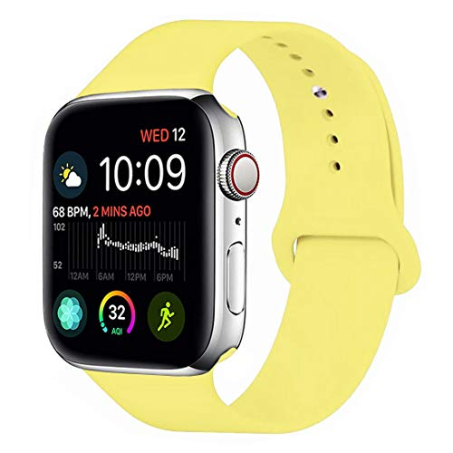 - MOOLLY for Watch Band 38mm 40mm, Soft Silicone Watch Strap Replacement Sport Band Compatible with Watch Band Series 4 Series 3 Series 2 Series 1 Sport & Edition (New Pollen Yellow, 40mm(38mm) S/M)