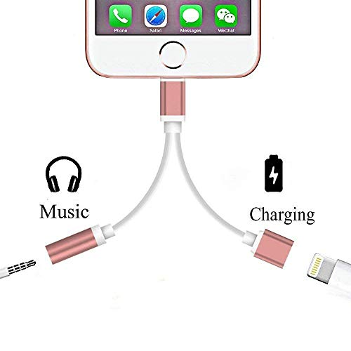 2 in 1 Lighting to 3.5mm Audio Adapter, Assrid Lighting Charger, Lighting to 3.5mm Aux Headphone Jack Adapter for Phone 7/7 Plus [No Calling Function and No Music Control] (Rose Gold)