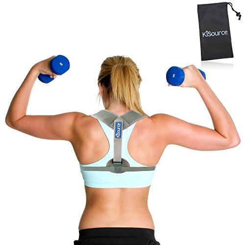 Back Posture Corrector & Shoulder Support for Men & Women | Comfortable & Discrete (Grey) Back Brace Provides Neck & Back Pain Relief | Improves & Straightens Posture by KiSource