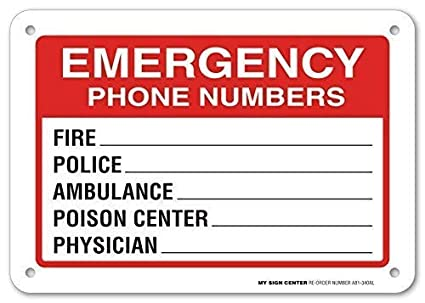 Nice Metal Road Sign Emergency Phone Numbers Safety Sign Fire Police Physician 12 x 8 inch Indoor and Outdoor Use Ambulance Poison Center