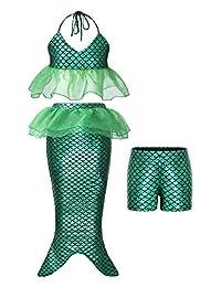 HenzWorld Girls Little Mermaid Swimsuit Ariel Princess Bikini Swimwear Bathing Suit