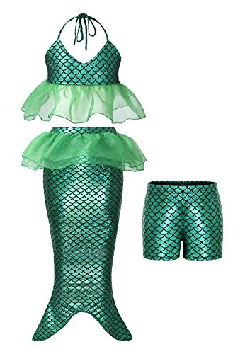 AmzBarley Girls Ariel Outfits Princess Mermaid Swimming Costume 3Pcs Bathing Suit Swimwear Pool Party Swimsuits Holiday Water Sport Dress up Clothes Size 6(Green 80) -