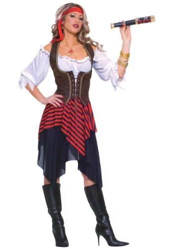 Forum Novelties Women's Sweet Buccaneer Pirate Costume, Black/Red, Standard