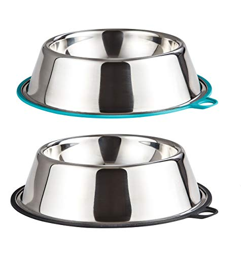 Peggy 11 Light Anti-tip Stainless Steel Dog Cat Bowl with Non-Slip Bonded Silicone Ring 10 oz (1.25 Cups) Set of 2