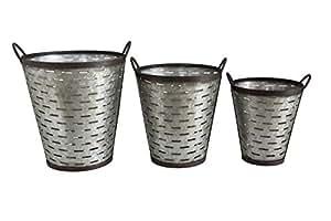 Creative Co-Op DA5995 Grange Iron Olive Bucket Set with Handles