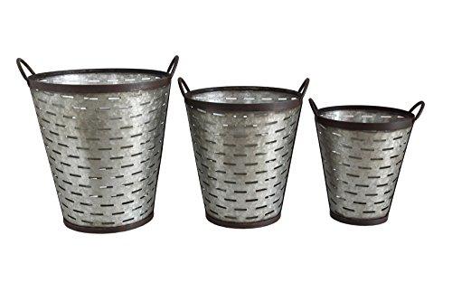 Creative Co-Op DA5995 Grange Iron Olive Bucket Set with Handles (Olive Basket)