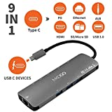 MKDGO 9 in 1 USB C Hub Multiport Adapter with 4K HDMI 1000M RJ45 3xUSB 3.0 3.5mm Audio/Mic Jack MicroSD/SD Card Slot Type C Power Delivery Charging Port for Macbook2018 Google Chromebook - Gray