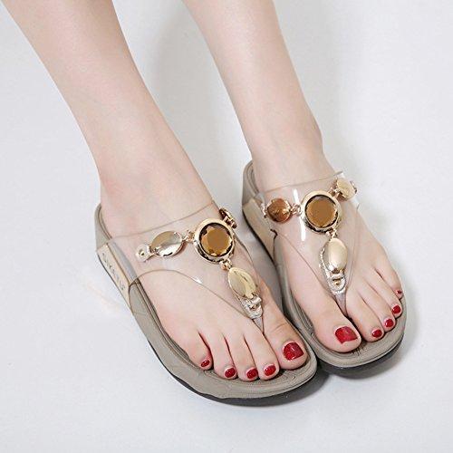 pantofola lanciare slittata 4 Beauty strass Ciabatte centimetri donna Flip morbido spesso Tacco 002 leader flop XqBfOZ