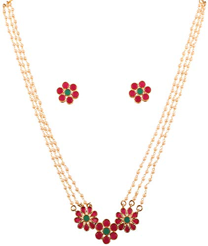 Touchstone New Indian Bollywood Desire Inspired by Indian Studded Technique Floral Motif Faux Ruby Emerald Intertwined Faux Pearls Designer Jewelry Pendant Set in Antique Gold Tone for Women