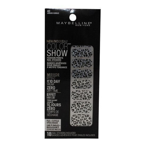 (Maybelline Limited Edition Color Show Fashion Prints Mirror Effect Nail Stickers - 40 Urban Jungle)